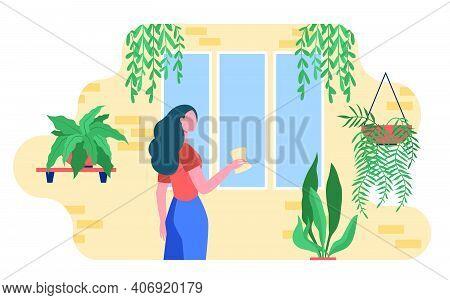 Woman Washing Window Among Home Plants. Houseplants, Greenhouse, Eco Interior Flat Vector Illustrati