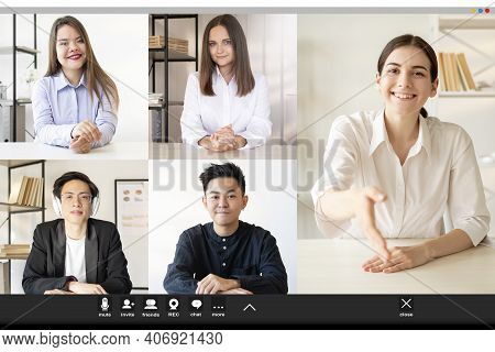Video Chat. Internet Meeting. Online Interview. Business Telecommuting. Cheerful Ambitious Female Em
