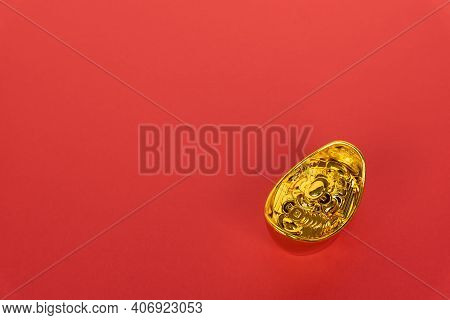 Golden Ingot On Red Background With Copy Space - Chinese New Year Background