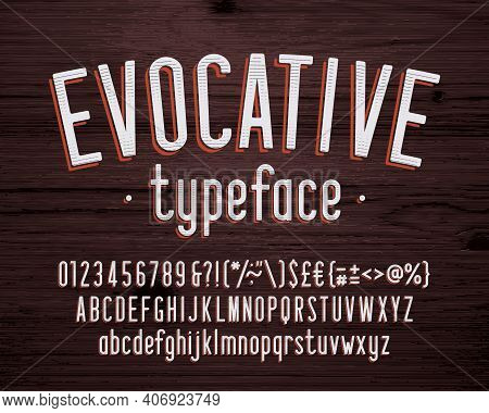 Evocative Alphabet Font. Vintage Condensed Letters, Numbers And Symbols. Uppercase And Lowercase. St