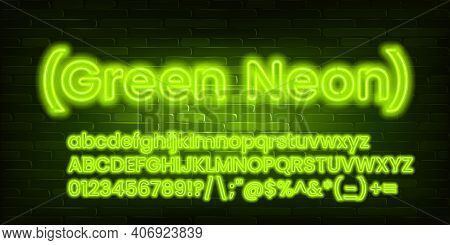Green Neon Alphabet Font. Neon Light Bold Letters, Numbers And Symbols. Uppercase And Lowercase. Sto