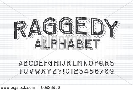 Raggedy Alphabet Font. Type Letters And Numbers On A Vintage Background. Stock Vector Typescript For