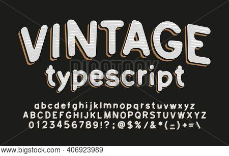 Vintage Alphabet Font. Hand Drawn Letters, Numbers And Symbols. Uppercase And Lowercase. Stock Vecto