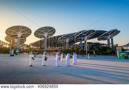 Dubai, United Arab Emirates - February 4, 2020: Emirati Entertainers In Front Of Terra Sustainabilit