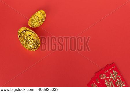 Chinese New Year Concept Red Envelope And Golden Ingot