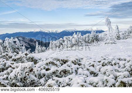 High Tatras From Low Tatras Mountains, Slovak Republic. Hiking Theme.
