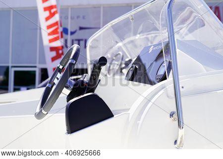 Bordeaux , Aquitaine  France - 02 02 2021 : Yamaha Boat Interior Steering Wheel Of Modern Motor Boat