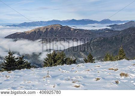 Little Fatra Mountains From Borisov, Big Fatra, Slovak Republic. Travel Destination. Inverse Weather