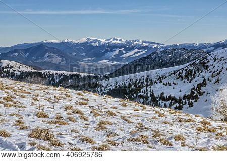 Big Fatra And Low Tatras Mountains From Borisov, Slovak Republic. Snowy Landscape. Seasonal Natural