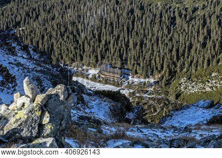 Poprad Tarn With Hut From Ostrva Peak, High Tatras Mountains, Slovak Republic. Hiking Theme. Travel