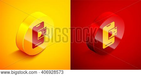 Isometric Mobile Banking Icon Isolated On Orange And Red Background. Transfer Money Through Mobile B