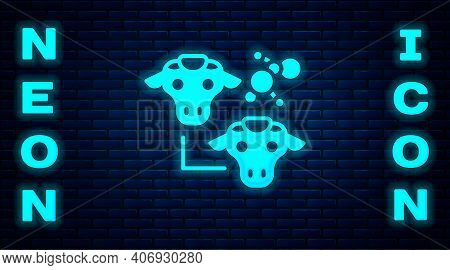 Glowing Neon Cloning Icon Isolated On Brick Wall Background. Genetic Engineering Concept. Vector