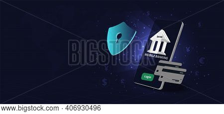 Mobile Banking And Security Concept. Protection Payment Via A Smartphone .3d Smartphone With Bank Bu