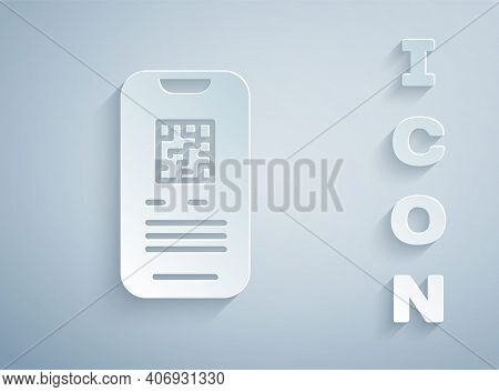 Paper Cut Online Ticket Booking And Buying App Interface Icon Isolated On Grey Background. E-tickets