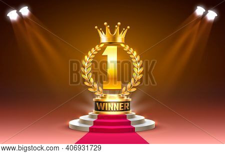 Winner Stage Podium With Lighting, Stage Podium Scene With For Award Ceremony On Red Background, Vec