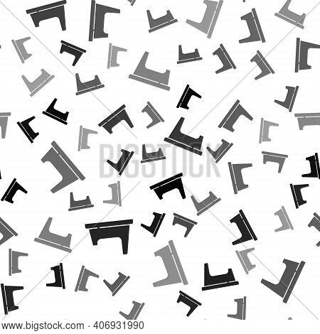Black Baby Potty Icon Isolated Seamless Pattern On White Background. Chamber Pot. Vector