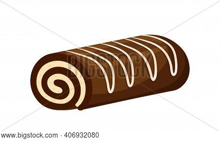 Chocolate Roll With Cream And Vanilla, Creamy Topping. Sweet Pastries. Fat, High-calorie, Unhealthy