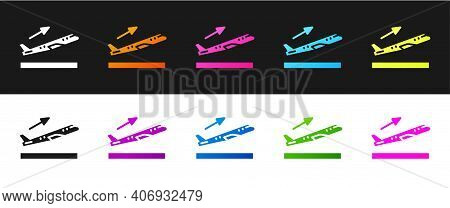 Set Plane Takeoff Icon Isolated On Black And White Background. Airplane Transport Symbol. Vector