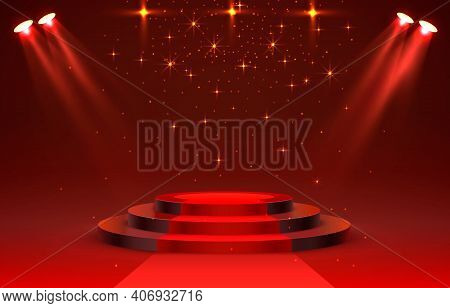 Show Light, Stage Podium Scene With For Award Ceremony On Red Background. Vector