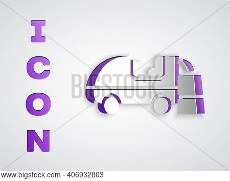 Paper Cut Ice Resurfacer Icon Isolated On Grey Background. Ice Resurfacing Machine On Rink. Cleaner