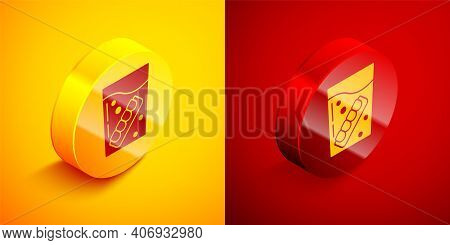 Isometric False Jaw In Glass Icon Isolated On Orange And Red Background. Dental Jaw Or Dentures, Fal