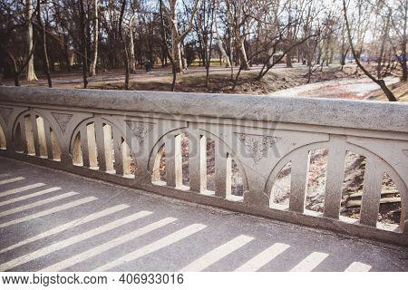 A Stone Bridge At Vajdahunyad Castle In The City Park Budapest, Hungary
