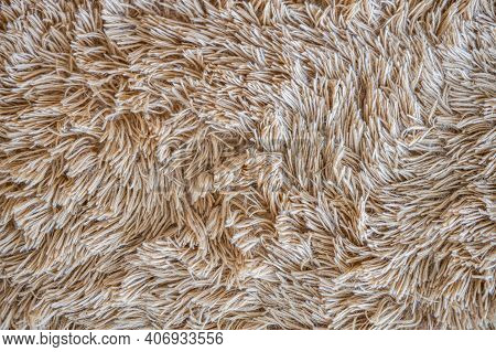 Background Of Beige Fur, Close-up Texture Of Brown Sand Colored Fluffy Fur, Wool With Beige Tone, Fu