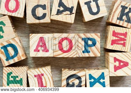 Alphabet Letter Block In Word Aop (abbreviation Of Annual Operating Plan Or Aspect-oriented Programm