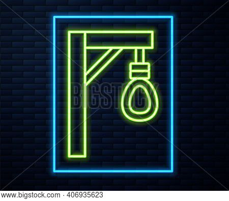 Glowing Neon Line Gallows Rope Loop Hanging Icon Isolated On Brick Wall Background. Rope Tied Into N
