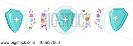 Shield Immune With Hospital Sign, Protection From Viruses And Bacteria. Defense From Medical Infecti