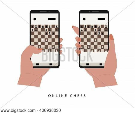Sicilian Defense Flat Vector Illustration. Checkmate With Chess Pieces. Online Game Or Tournament On