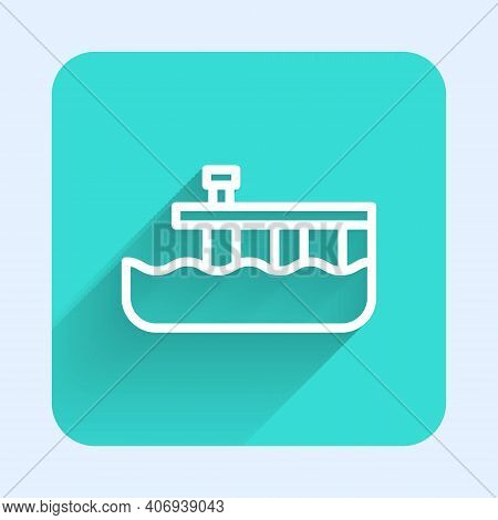 White Line Beach Pier Dock Icon Isolated With Long Shadow. Green Square Button. Vector