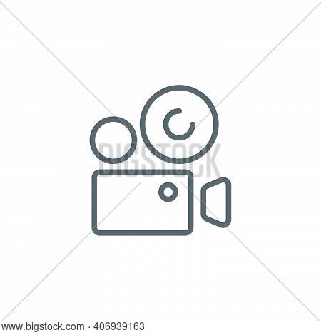 Movie Film Camera  Icon, Color, Line, Outline Vector Sign, Linear Style Pictogram Isolated On White.