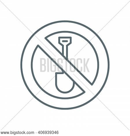 No Digging Icon, Color, Line, Outline Vector Sign, Linear Style Pictogram Isolated On White. Symbol,