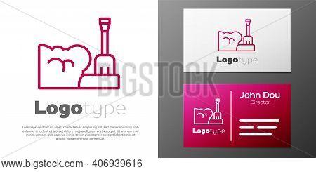 Logotype Line Shovel In Snowdrift Icon Isolated On White Background. Logo Design Template Element. V