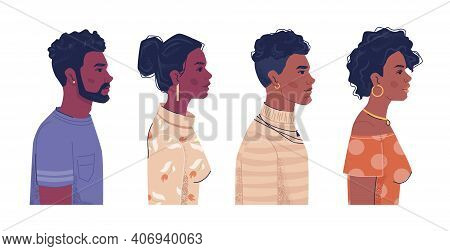 Diverse People, Afro American Men And Women Side View Portraits, Flat Cartoon. Vector Ebony, Black A