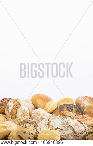 The Bakery Store Has Gathered All Types Of Bread That It Bakes In Its Bakery And Left A White Backgr