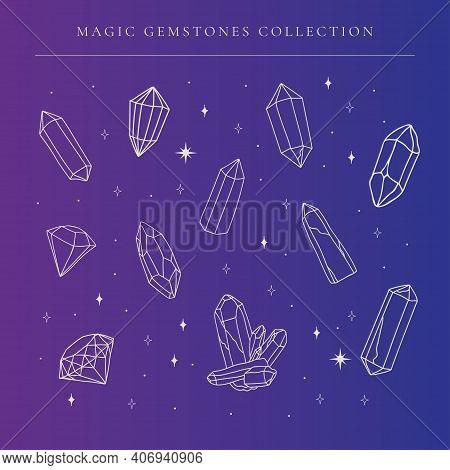 Vector Abstract Crystal Gems, Line Art Gemstones