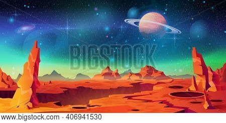 Mars Surface Landscape, Alien Planet Background, Saturn On Starry Sky. Vector Red Desert With Mounta