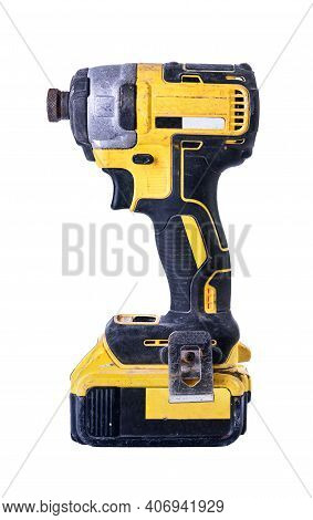 Cordless Battery Powered Drill Isolated On White Background.