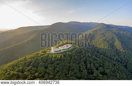 Aerial Drone Shot Of Oltar Domovine Ston Fortress Castle On Top Of Zagreb Uptown Hill