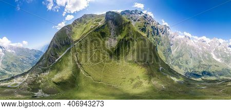 360 Panoramic Aerial View Of Grossglockner Mountain Along Taxenbacher Fusch High Alpine Road In Aust