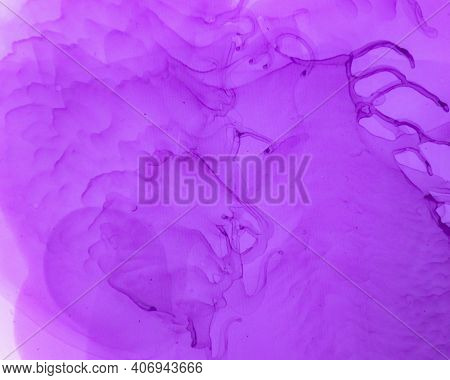 Ethereal Art Pattern. Alcohol Ink Wave Wallpaper. Lilac Creative Stains Splash. Sophisticated Color
