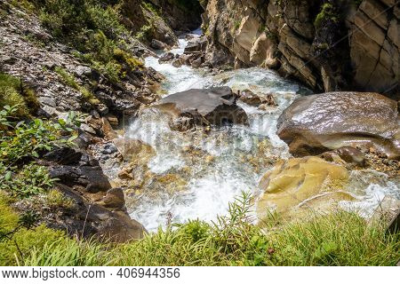 Waterfall In Vanoise National Park, Savoie, French Alps