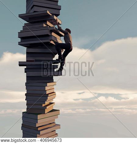 Man Climbs On A Stack Of Books. Scholarship And Education Concept . This Is A 3d Render Illustration