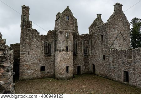 Courtyard Of Tolquhon Castlemedieval Ruins In  Tarves, Ellon, Scotland, Uk In Overcast Weather