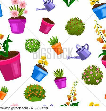 Spring Flowerpot Seamless Floral Pattern With Green Home Plants, Blooming Bushes, Seedling, Leaves.
