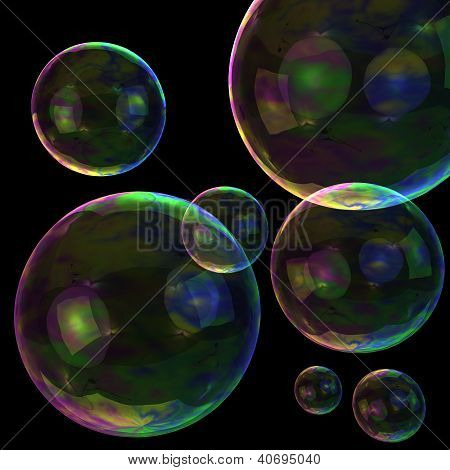3d soap bubbles on the black background poster