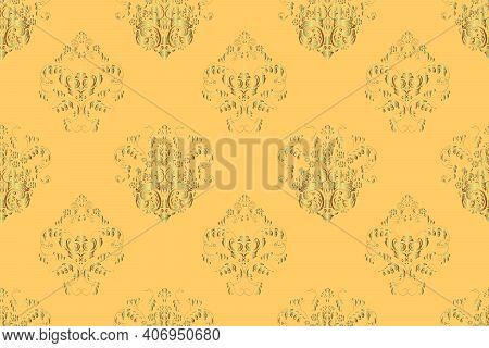 Seamless Pattern With Interesting Doodles On Colorfil Background. Pano. Raster Illustration. Vintage