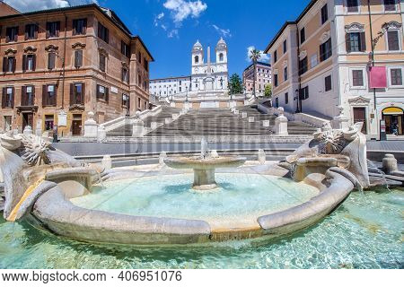 View Of The Famous Piazza Di Spagna In Rome, From The Fountain Of The Boat, With The Spanish Steps A